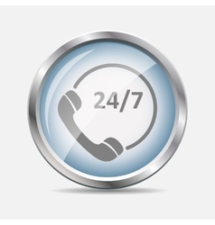 Customer service 24-7 glossy icon vector