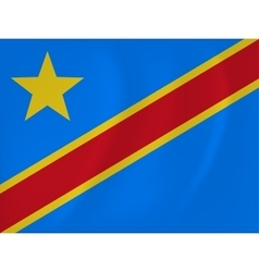Democratic republic of congo waving flag vector