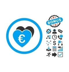 Euro Favorites Flat Icon with Bonus vector image