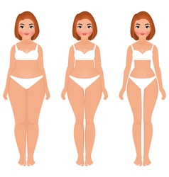 Fat to slim woman weight loss transformation front vector image