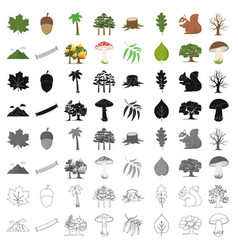 forest set icons in cartoon style big collection vector image vector image