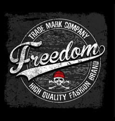 Freedom typography tee graphic design vector