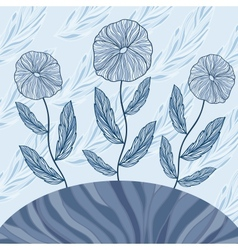 Greeting card with three blue flowers vector