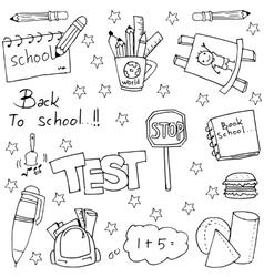 Hand draw school education doodles vector image
