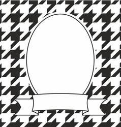 Hand drawn frame on houndstooth black and white vector image vector image
