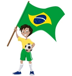 Happy soccer fan holds brazilian flag vector