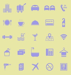 Hotel color icons on yellow background vector