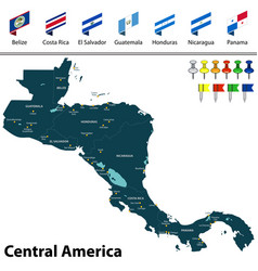 Map of central america vector