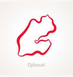 Outline map of djibouti marked with red line vector
