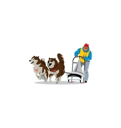 Sled dog racing sign dogteam driver and siberian vector