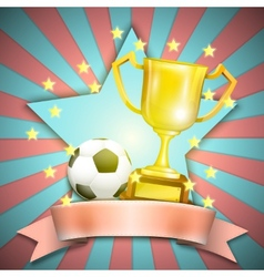 Soccer retro poster with trophy cup and ball vector