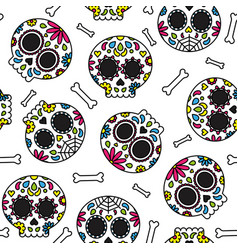 Sugar skull day of the dead cute seamless pattern vector