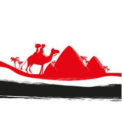 Tourists riding camel vector