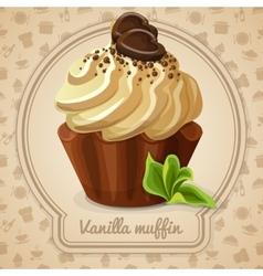 Vanilla muffin label vector image