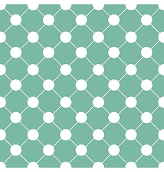 White Polka dot Chess Board Grid Green vector image vector image