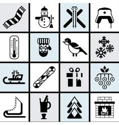 Winter icons set black vector