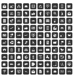 100 post and mail icons set black vector