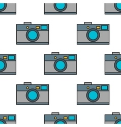 Seamless pattern of photo cameras flat objects on vector