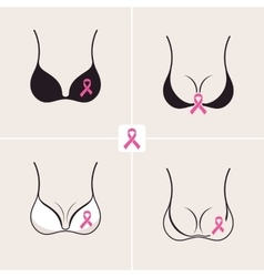 Breast Cancer October set Female bra Information vector image
