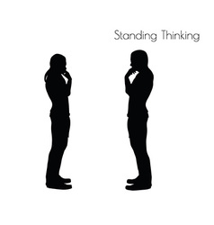 Standing thinking pose on white background vector