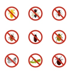 Harmful insects icons set flat style vector