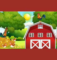 Farm scene with chickens on the barn vector