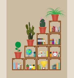Library book shelf bookcase with different books vector