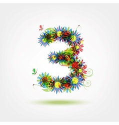 Three floral number for your design vector
