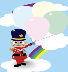 Soldier doll and balloon vector