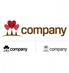 love heart tree logo vector image