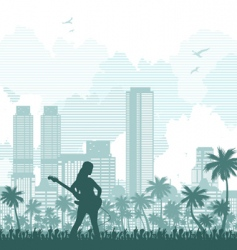 music and city background vector image