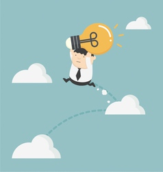 Obese businessman holding bulbs jump up cloud vector