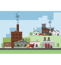 Industrial buildings flat vector