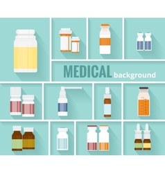 Medication bottles for medical background design vector