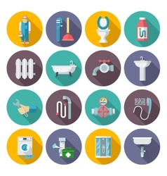 Plumbing icons set vector