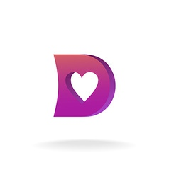 D letter logo template violet and purple colors vector