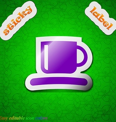 Coffee cup icon sign symbol chic colored sticky vector