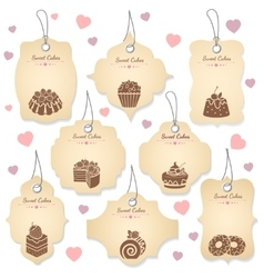 Cakes and desserts tag labels vector
