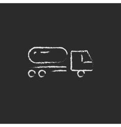 Fuel truck icon drawn in chalk vector