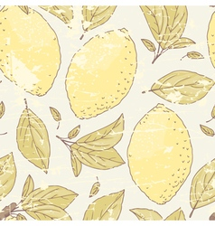 Vintage seamless pattern with hand drawn lemon vector