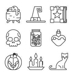 Witch magic halloween icons set isolated flat vector