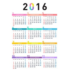 2016 colorful calendar vector