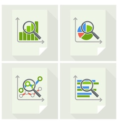 Magnifying glass and chart on vector