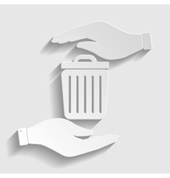 Trash sign paper style icon vector