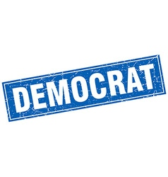 Democrat blue square grunge stamp on white vector