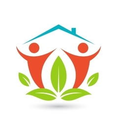 Green house logo happy family icon eco lover vector
