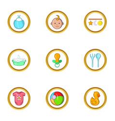 Baby life icon set cartoon style vector