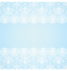 Blue background with lace border vector image