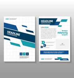 Blue green annual report leaflet brochure set vector