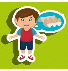 boy cartoon eggs food health vector image